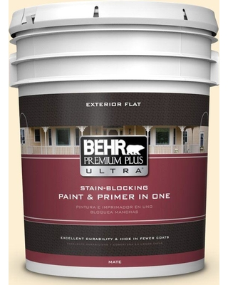 Big Deal On Behr Ultra 5 Gal Yl W03 Honied White Flat Exterior Paint And Primer In One