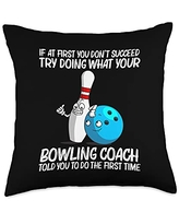 Best Bowler Ball Pin Bowl Player Sports Clothes Funny Gift for Men Women Bowling Team Spare Game Throw Pillow, 18x18, Multicolor