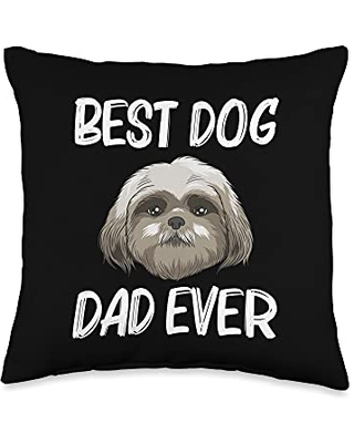 Best Pup Breed & Little Lion Fur Floppy Presents Funny Shih Tzu Gift for Dad Father Dog Puppy Owner Animal Throw Pillow, 16x16, Multicolor