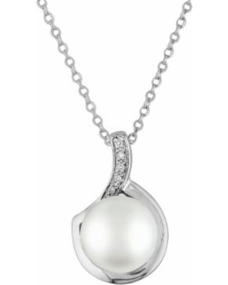 """Stella Grace Sterling Silver Freshwater Cultured Pearl and Diamond Accent Pendant, Women's, Size: 18"", White"""