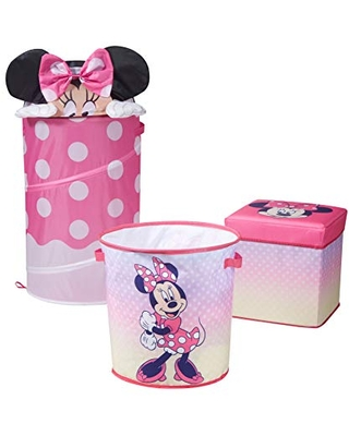 Idea Nuova Disney Minnie Mouse 3 Piece Collapsible Storage Set with Collapsible Ottoman, Bin and Figural Dome Pop Up Hamper, Pink