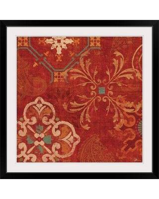 """Great Big Canvas 'Crimson Stamps II Graphic Art Print 1395535_1 Size: 32"""" H x 32"""" W x 1"""" D Format: Black Framed"""