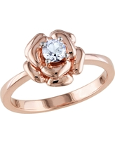 1/3 CT. T.W. Simulated White Sapphire Flower Ring in Pink Silver - 7 - White