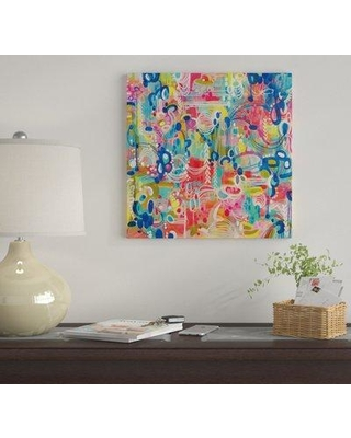 """East Urban Home 'Crazy Town' By Stephanie Corfee Graphic Art Print on Canvas EUME2442 Size: 18"""" H x 18"""" W x 1.5"""" D"""