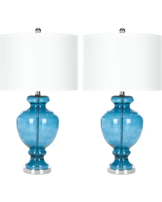 Morocco Blue 27 Inch Glass Table Lamp Set of 2