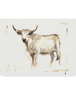 """Millwood Pines 'White Cattle II' Acrylic Painting Print on Wrapped Canvas W000880665 Size: 35"""" H x 47"""" W x 2"""" D"""