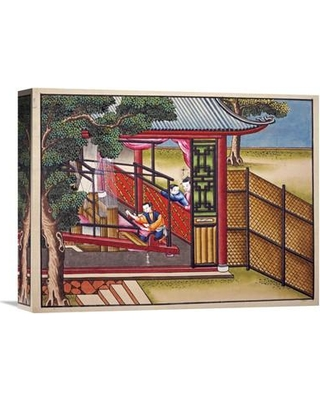 """Global Gallery Weaving Silk on a Loom Painting Print on Wrapped Canvas GCS-264719- Size: 23.13"""" H x 30"""" W x 1.5"""" D"""