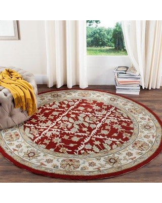 Charlton Home Driffield Hand-Hooked Red/Ivory Area Rug CHLH2757 Rug Size: Round 6'