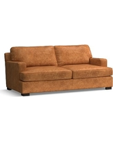 Townsend Square Arm Leather Loveseat, Polyester Wrapped Cushions, Leather Statesville Caramel