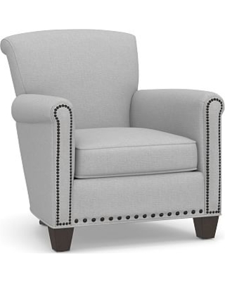 Irving Roll Arm Upholstered Armchair with Bronze Nailheads, Polyester Wrapped Cushions, Brushed Crossweave Light Gray