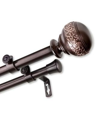 Rod Desyne Naomi 48 to 84-Inch Double Curtain Rod Set in Cocoa