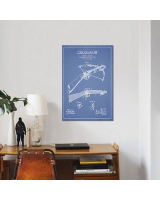 """East Urban Home 'Gustav Bruder Crossbow Patent Sketch' Graphic Art Print on Canvas in Light Blue ERBR0129 Size: 26"""" H x 18"""" W x 1.5"""" D"""