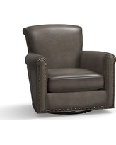 Irving Leather Swivel Glider, Bronze Nailheads, Polyester Wrapped Cushions, Leather Burnished Wolf Gray