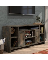 """Greyleigh™ Columbia TV Stand for TVs up to 85"""", Wood/Distressed Finish/Gloss Finish in Brown, Size 33""""H X 64""""-74""""W X 16""""D 