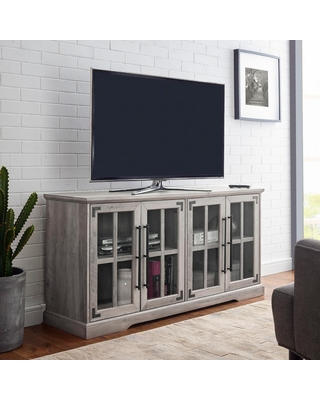 Welwick Designs 58 in. Grey Wash Composite TV Stand Fits TVs Up to 64 in. with Storage Doors
