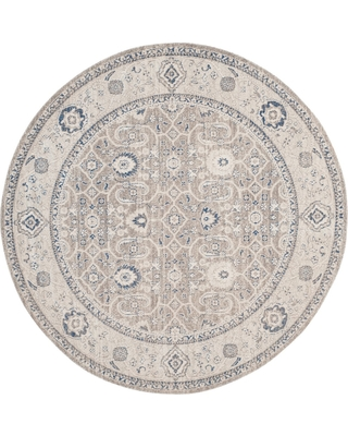 6'7 Floral Loomed Round Area Rug Taupe/Ivory (Brown/Ivory) - Safavieh