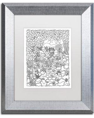 """Trademark Art 'Cat Tails' Framed Graphic Art on Canvas ALI3496-S1 Size: 20"""" H x 16"""" W x 0.5"""" D Matte Color: White"""