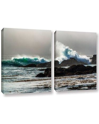 "Highland Dunes 'The Wave Long Beach' 2 Piece Photographic Print on Wrapped Canvas Set HLDS5209 Size: 18"" H x 28"" W x 2"" D"