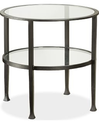 Tanner Metal & Glass Round End Table, Matte Iron-Bronze finish