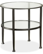 Tanner Metal & Glass Round Side Table, Matte Iron-Bronze finish