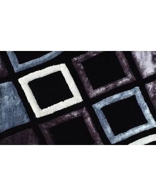 """GTSY-780 5' x 8' 3D Rug with Rectangular Shape 2"""" Pile Height and Mixed Centipede Yarn Construction in Black Grey and"""