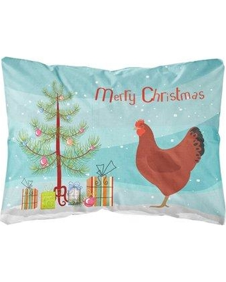 The Holiday Aisle Mirando New Hampshire Red Chicken Christmas Indoor/Outdoor Throw Pillow BI148712