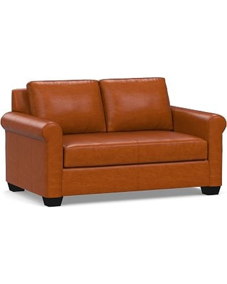 """York Roll Arm Leather Loveseat 63"""" with Bench Cushion, Down Blend Wrapped Cushions, Legacy Dark Caramel"""