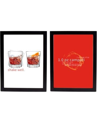 SafiyaJamila Double Negroni Cocktail 2 Pieces Framed Graphic Art Set Negroni_Black Size: 20'' H x 16'' W x 1'' D