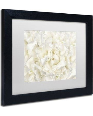 """Winston Porter 'White Peony Flower' Framed Photographic Print in Canvas WNPO1625 Size: 16"""" H x 20"""" W x 0.5"""" D Frame Color: Black"""