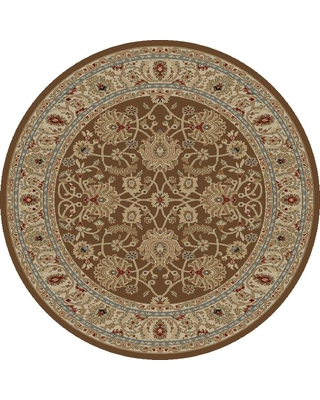 Concord Global Trading Ankara Mahal Brown 5 ft. Round Area Rug