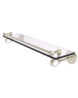 Allied Brass Clearview Collection Glass Shelf with Gallery Rail (Polished Nickel - 22 Inch)