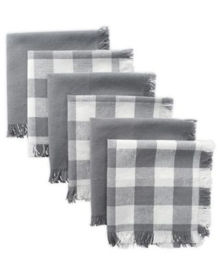 Design Imports Checkered Dish Towels in Grey (Set of 6)