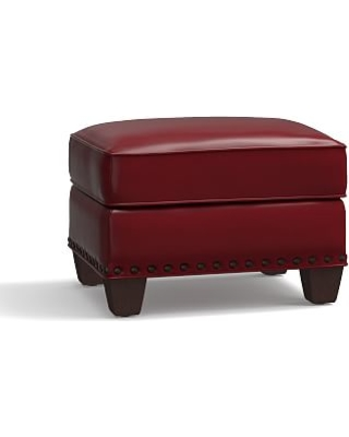 Irving Leather Storage Ottoman, Bronze Nailheads, Polyester Wrapped Cushions, Leather Signature Berry Red