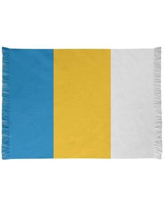 """East Urban Home La Power Football Yellow/Blue Area Rug Backing: Yes, Chenille in Blue/Yellow/Gold, Size 65""""H X 54""""W X 1""""D 