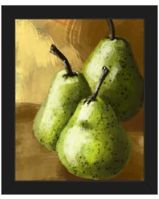 """Click Wall Art 'Green Pears on Yellow' Framed Painting Print STL0000076F Format: Black Framed Size: 11"""" H x 14"""" W"""