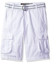 Southpole Boys' Belted Mini Canvas Cargo Shorts in Various Colors, White, 10