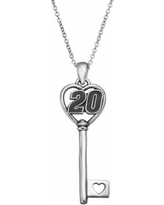 """Insignia Collection Nascar Matt Kenseth """"20"""" Stainless Steel Key Pendant Necklace, Women's, Size: 18"""", Grey"""