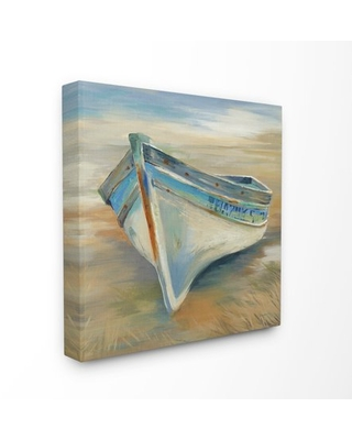 The Stupell Home Decor Painterly Blue Green and Rust Rowboat in the Grass Canvas Wall Art