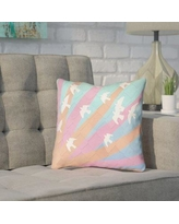 """Brayden Studio Enciso Modern Birds and Sun Pillow Cover BYST7125 Size: 14"""" H x 14"""" W, Color: Orange/Pink/Blue"""