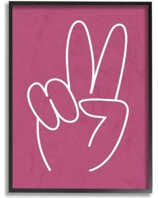 """Stupell Industries Peace Sign Pink And White Graphic Art Print brp-1846_cn_0 Size: 15"""" H x 10"""" W Format: Plaque"""