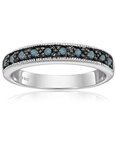 1/4 cttw Blue Diamond Ring With Milgrain .925 Sterling Silver