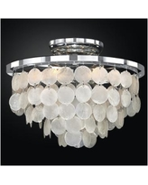 "Bayside 13"" Wide Silver Pearl Capiz Shell Ceiling Light"