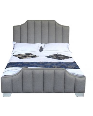 Camelot Collection LCCTBEGR Contemporary Queen Bed with Polished Stainless Steel and Grey