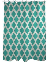 One Bella Casa All Over Moroccan Shower Curtain HMW5340 Color: Turquoise/Ivory