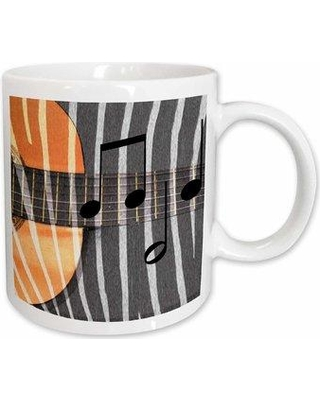 East Urban Home Zebra Print Guitar with Notesfun Musical Art Coffee Mug W000688697
