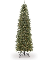 Puleo International 7.5' Pre-Lit Fraser Fir Pencil Tree Artificial Christmas Tree with 350 Clear UL Listed Lights