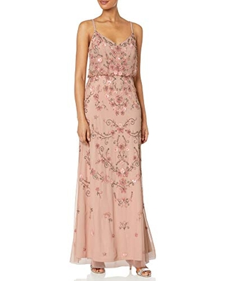 Adrianna Papell Women's Colored Floral Beaded Blouson Gown, Champagne Multi, 4