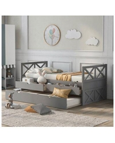 Harper Orchard Twin Size Daybed w/ 2 Built In Drawers & Trundle Bed, X-Style Headboard & Footboard For Teens & Adults, Espresso Wood in Gray Wayfair