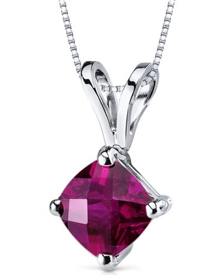 """1.11 ct Cushion Cut Red Created Ruby Pendant Necklace in 14K White Gold, 18"""""""