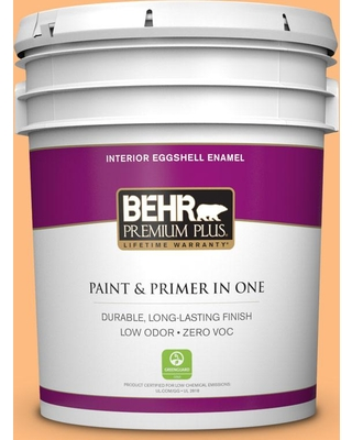 BEHR PREMIUM PLUS 5 gal. #270B-4 Apricot Flower Eggshell Enamel Low Odor Interior Paint and Primer in One